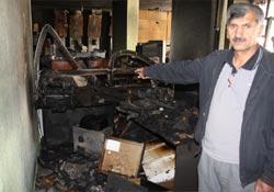 Yüksekova'da bir iş yerinde yangın