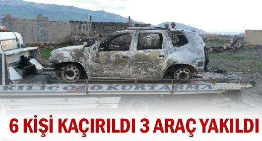 Ağrı'da 6 kişi kaçırıldı 3 araç yakıldı