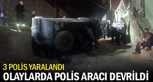 Taşlanan Polis Aracı Kontrolden Çıkıp Devrildi: 3 Polis Yaralı