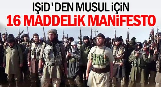 IŞİD'den Musul için 16 maddelik manifesto