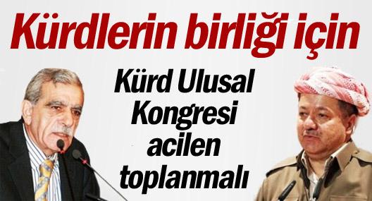 Kürdlerin birliği için Kürd Ulusal Kongresi acilen toplanmalı