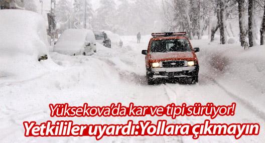 Yüksekova'da kar ve tipi sürüyor, yetkililer yollara çıkılmaması için uyardı
