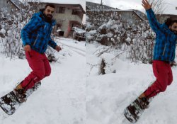 Sokaklarda snowboard keyfi!