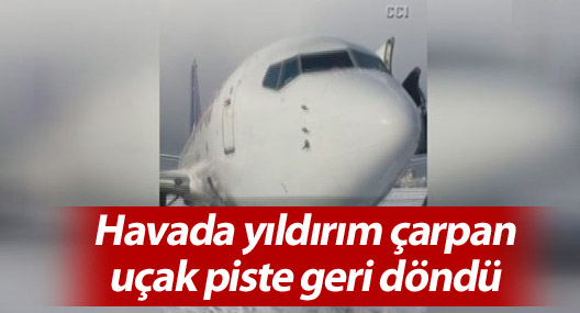 Havada yıldırım çarpan uçak piste geri döndü