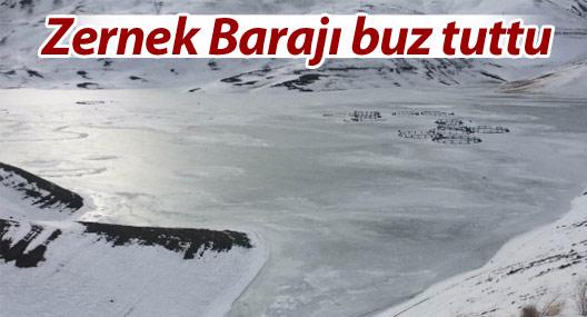 Zernek Barajı buz tuttu