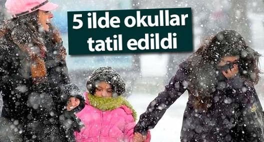 Kar yağışı nedeniyle 5 şehirde okullar tatil edildi