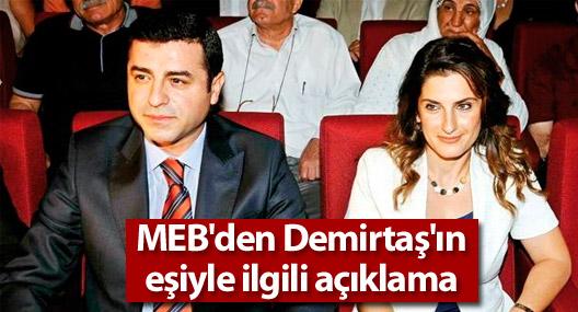 MEB'den Selahattin Demirtaş'ın eşiyle ilgili açıklama
