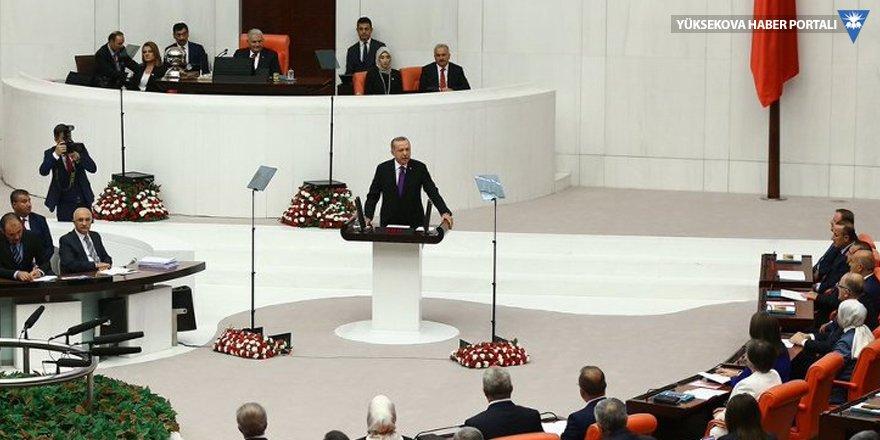 Erdoğan yürütme yetkisiyle Meclis'te: Darbelere krizlere engel olamadık