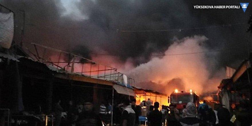 Erbil'de büyük yangın: Yüzlerce dükkan kül oldu