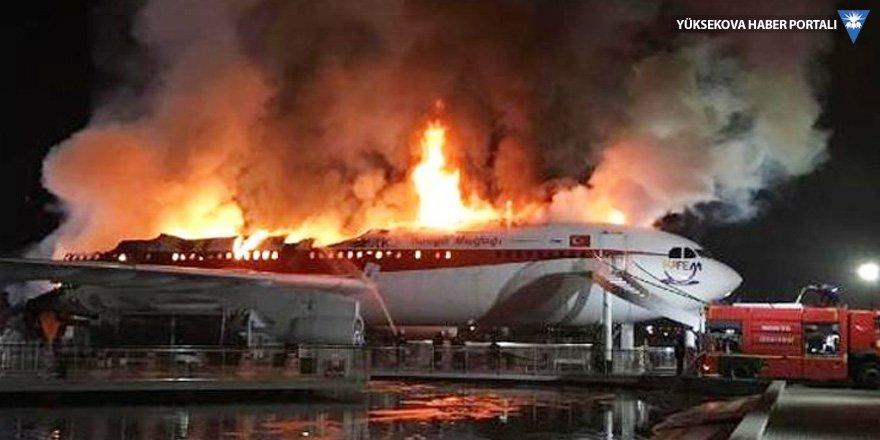 Konya'da uçak restoran-kafede yangın
