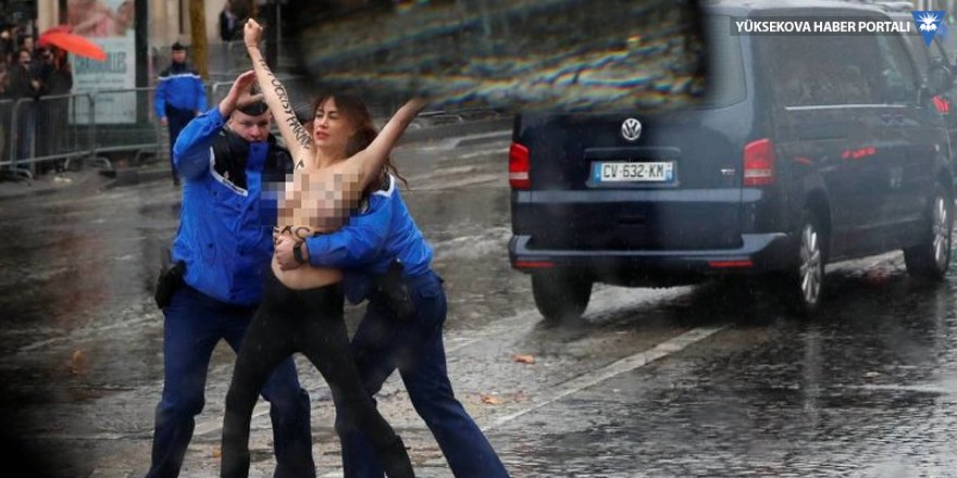 FEMEN'den Trump'a protesto: Bariyeri aşıp konvoyuna koştular