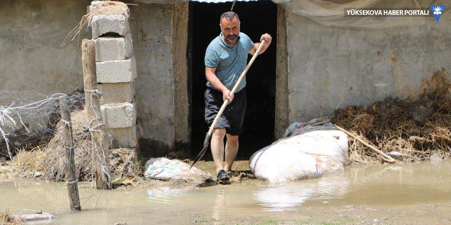 Yüksekova'da Urşe Deresi taştı, 7 ev 20 ahır sular altında kaldı