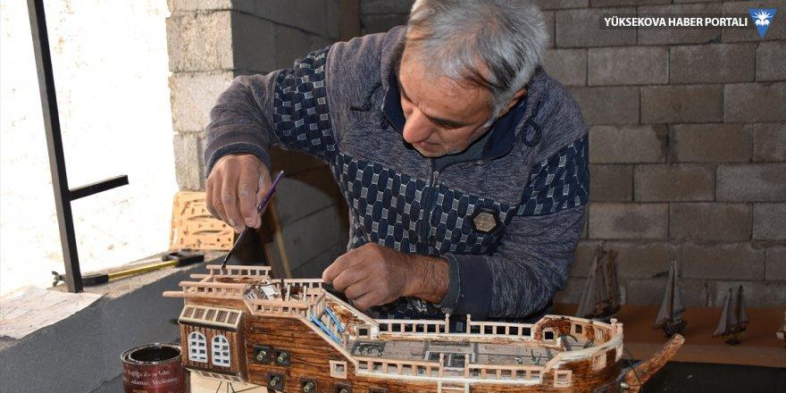 Hakkari'de konuşma ve işitme engellinin maket gemi tutkusu