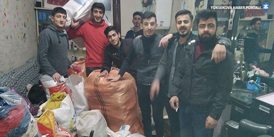 Yüksekova Belediyespor taraftarlarından depremzedelere yardım