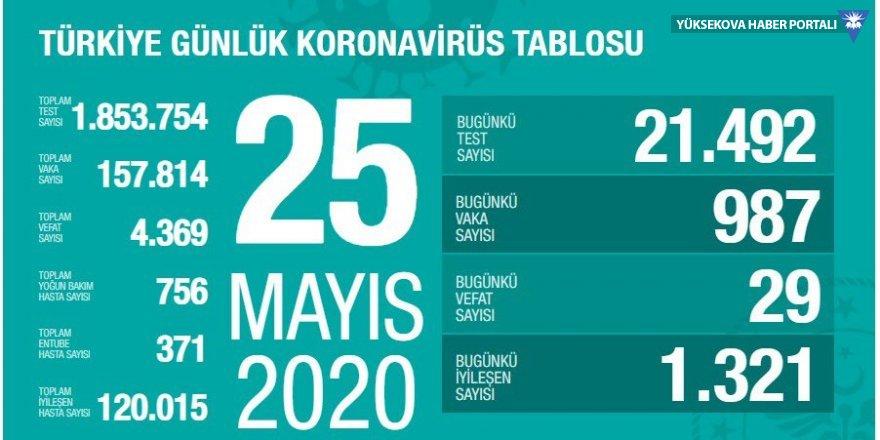 Türkiye'de son 24 saatte koronavirüsten 29 ölüm, 987 yeni vaka: İyileşen sayısı yeniden yükselişte