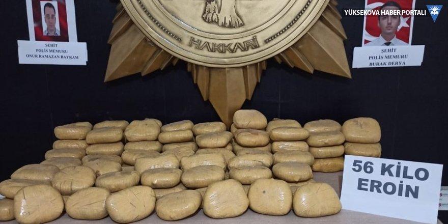 Hakkari'de 56 kilo eroin yakalandı