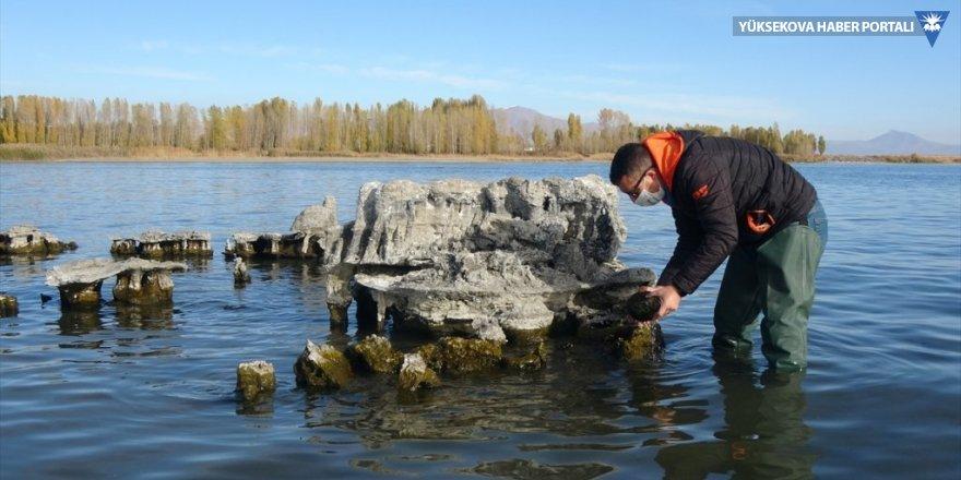 Van Gölü'nün çekilmesiyle su altında kalan mikrobiyalitler ve tarihi yapılar ortaya çıktı