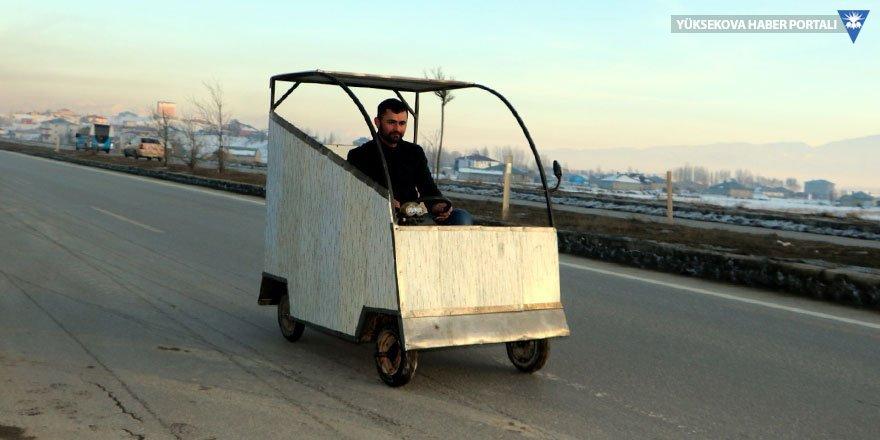 Yüksekovalı Yılmaz hurda parçalarla elektrikli araba yaptı