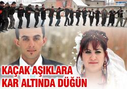 Kaçak aşıklara karlı düğün