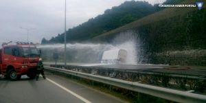 LGP tankeri kaza yaptı, Karadeniz Sahil Yolu kapatıldı