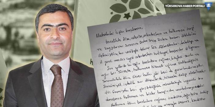 Abdullah Zeydan'dan Yüksekova Belediyesi Eşbaşkanı Sarı'ya mektup