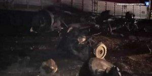 Cizre'de şarampole devrilen kömür yüklü tır yandı: 1 ölü