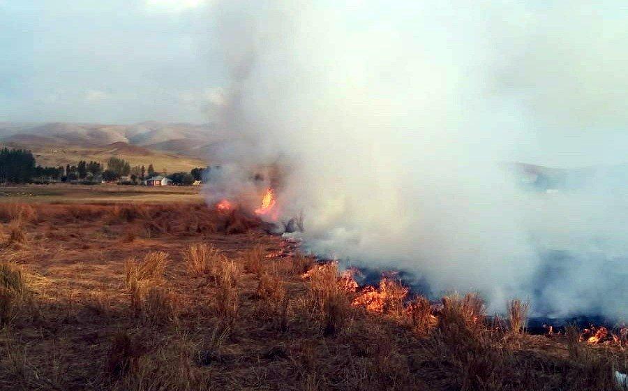 Van'da korkutan anız yangını
