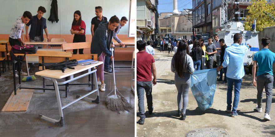 Yüksekova'da öğretmen ve öğrencilerden temizlik çalışması