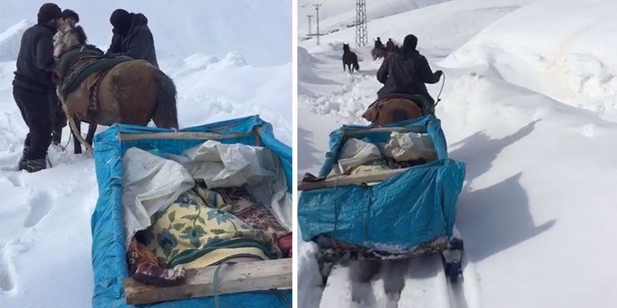 Yüksekova'da kızakla hasta kurtarma