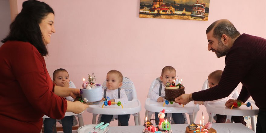 Baklavacı Fuat Usta'dan Yüksekova'nın dördüzlerine doğum günü sürprizi